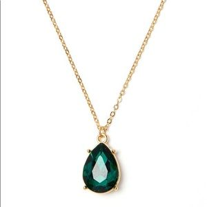 Charming Charlie Emerald Green Teardrop Necklace